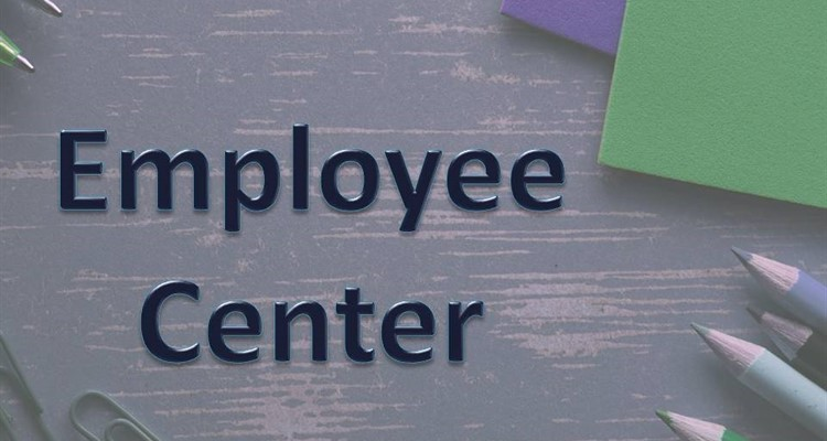 Employee Center caption with books and colored pencils in background