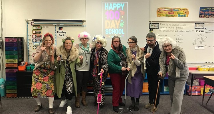 Ponderosa Teachers on 100th day of school