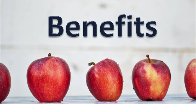 Benefits caption with apples in background
