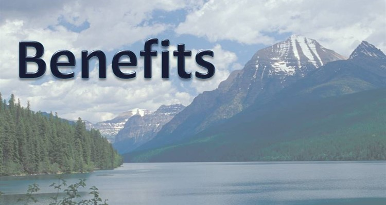 Benefits caption with mountain lake in background